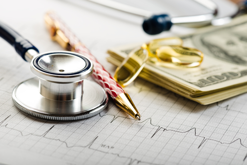 financial health dollars and stethoscope