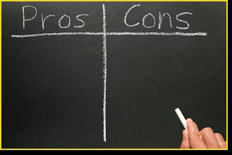 blackboard with pros and cons columns