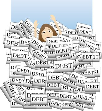 woman drowning in debt