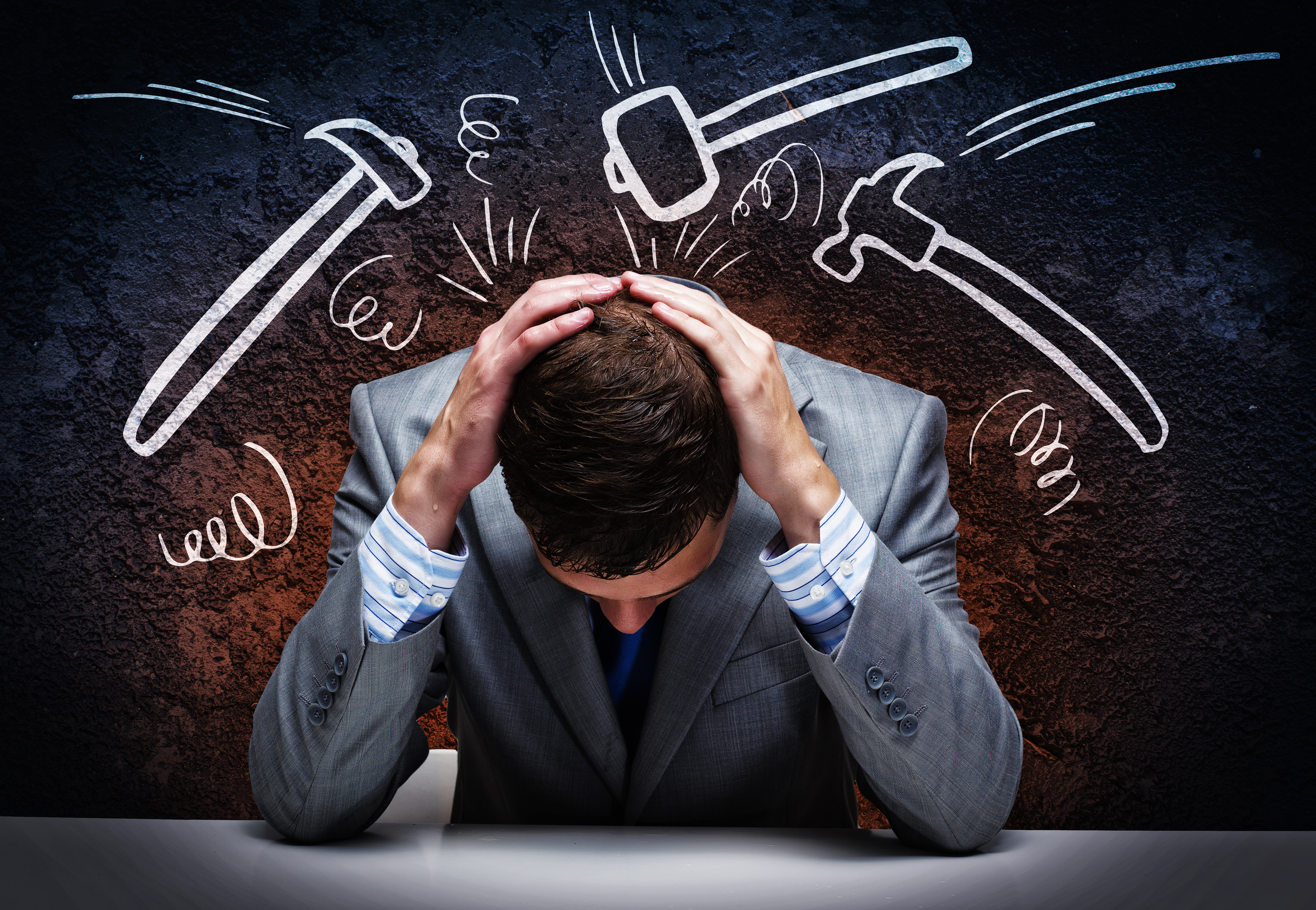 stressed man considering chapter 11 bankruptcy