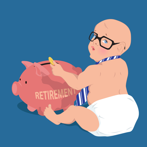 baby putting money in retirement piggy bank