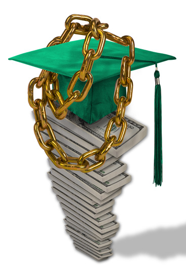 money and graduation cap in chains