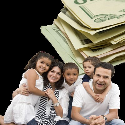 smiling family with cash at the background