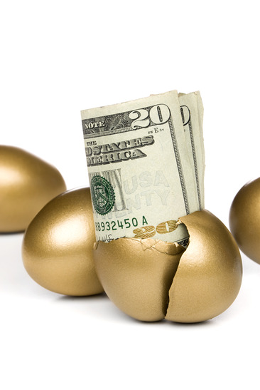 golden egg with money