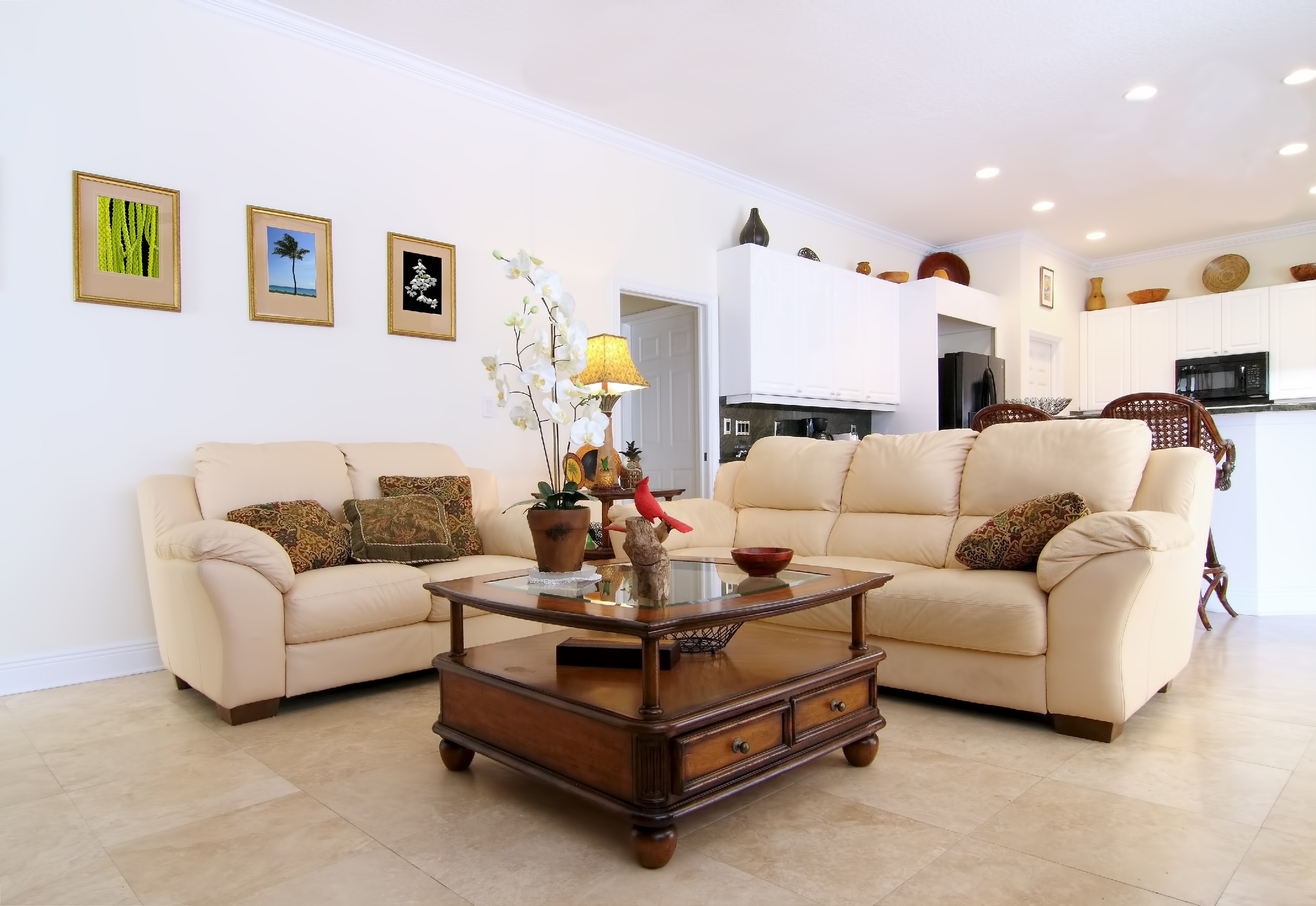 Overview of a beautiful classic family room in a private residence