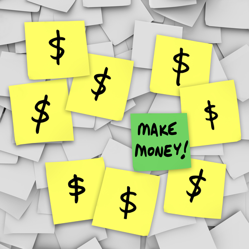 sticky notes with dollar signs and make money text