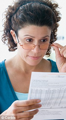 Woman holding glasses and reviewing credit card statement