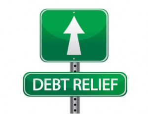 Sign saying Debt Relief with arrow pointing ahead