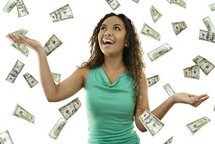 happy woman with raining money